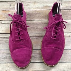 GAP Magenta Pink Suede Capped Toed Oxford Shoes